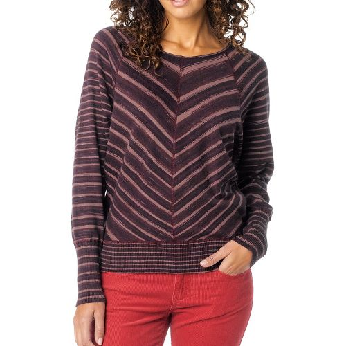 Womens Prana Emerson Sweater Long Sleeve Non-Technical Tops - Dark Plum XL