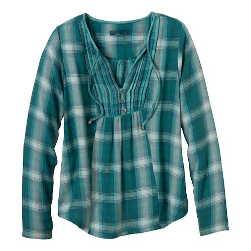 Womens Prana Francine Long Sleeve Non-Technical Tops - Deep Turquoise S