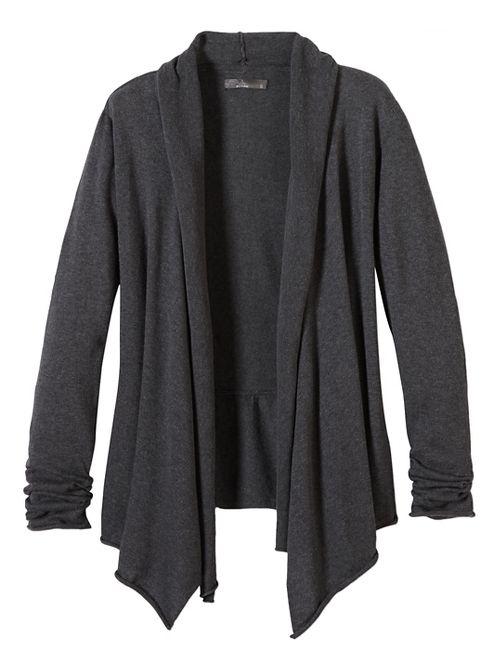 Womens prAna Georgia Wrap Long Sleeve Non-Technical Tops - Black L