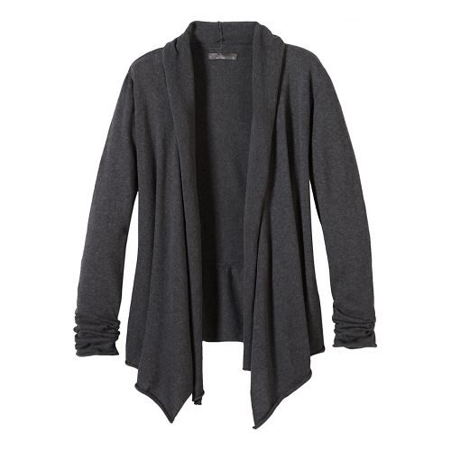 Womens prAna Georgia Wrap Long Sleeve Non-Technical Tops - Black M