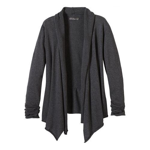 Womens prAna Georgia Wrap Long Sleeve Non-Technical Tops - Black S