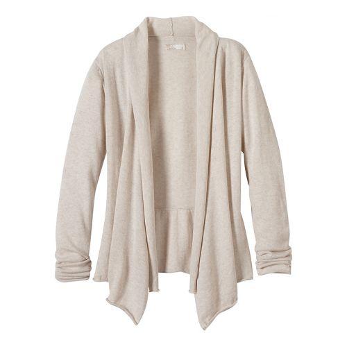 Womens prAna Georgia Wrap Long Sleeve Non-Technical Tops - White S
