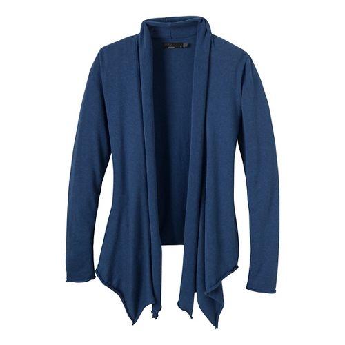 Womens Prana Georgia Wrap Long Sleeve Non-Technical Tops - Blue Twilight XS