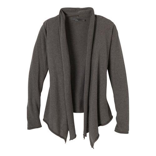 Womens Prana Georgia Wrap Long Sleeve Non-Technical Tops - Charcoal S