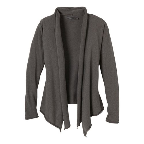 Womens Prana Georgia Wrap Long Sleeve Non-Technical Tops - Charcoal XS