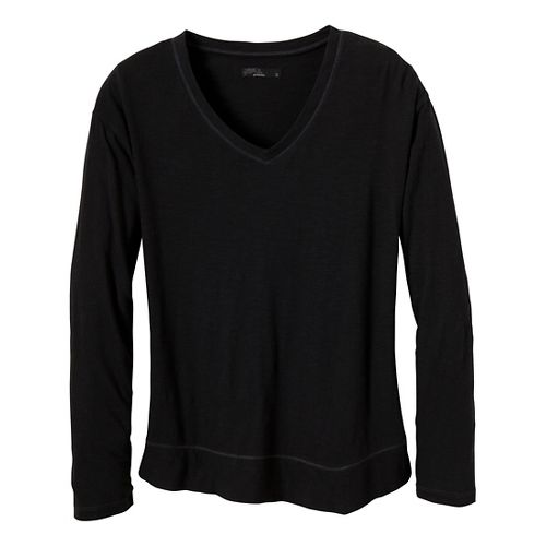 Womens Prana Heidi Long Sleeve Non-Technical Tops - Black XS