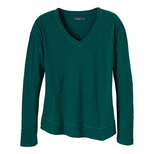 Womens Prana Heidi Long Sleeve Non-Technical Tops - Deep Turquoise M