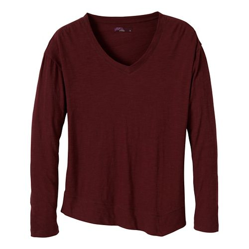 Womens Prana Heidi Long Sleeve Non-Technical Tops - Raisin XL