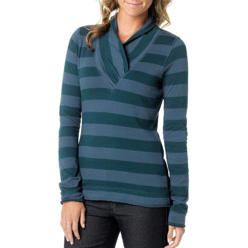 Womens Prana Ivona Long Sleeve Non-Technical Tops - Deep Teal S