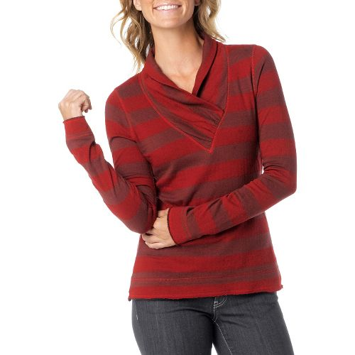 Womens Prana Ivona Long Sleeve Non-Technical Tops - Raisin XL