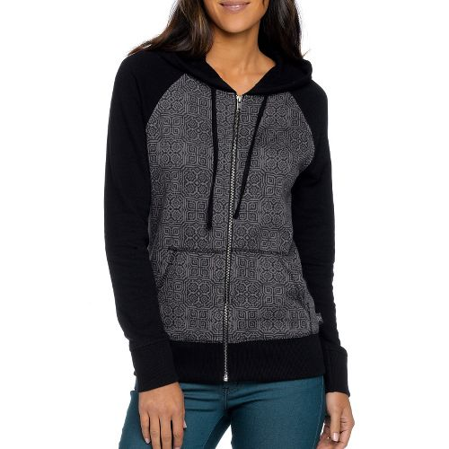 Womens Prana Kasey Hoodie Warm-Up Unhooded Jackets - Black XL