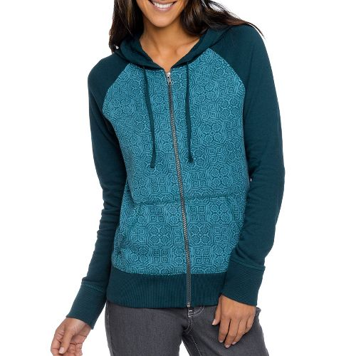Womens Prana Kasey Hoodie Warm-Up Unhooded Jackets - Deep Teal XL