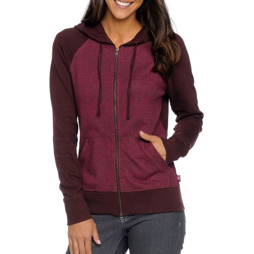Womens Prana Kasey Hoodie Warm-Up Unhooded Jackets - Rich Cocoa L