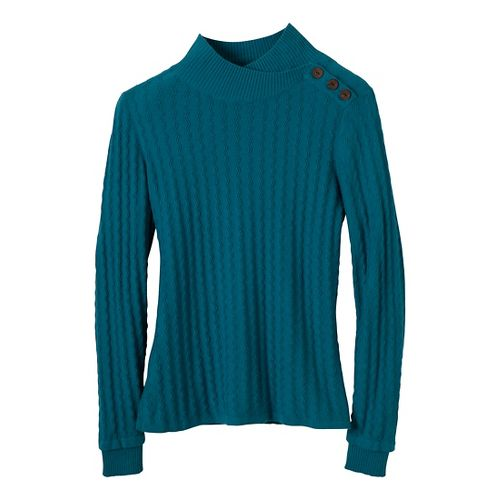 Womens Prana Lauren Turtleneck Long Sleeve Non-Technical Tops - Adriatic S