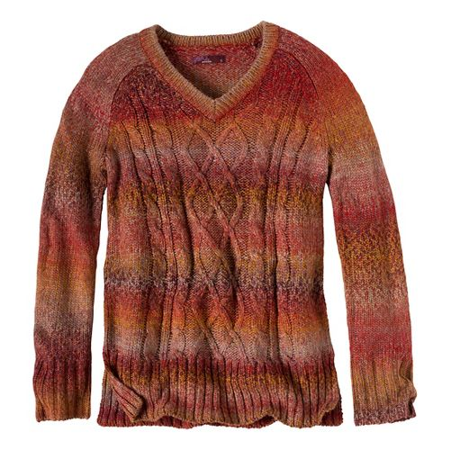 Womens Prana Leisel Sweater Long Sleeve Non-Technical Tops - Crimson XL