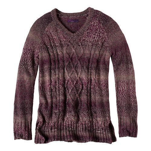 Womens Prana Leisel Sweater Long Sleeve Non-Technical Tops - Dark Plum XL