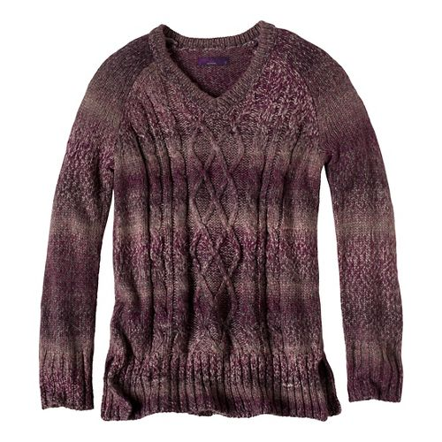 Womens Prana Leisel Sweater Long Sleeve Non-Technical Tops - Dark Plum XS