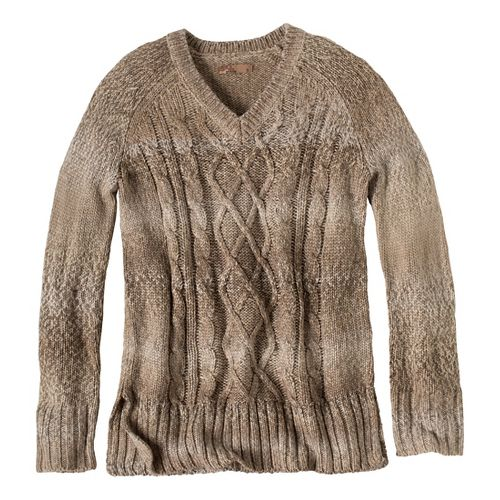 Womens Prana Leisel Sweater Long Sleeve Non-Technical Tops - Stone XS