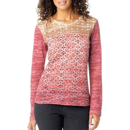 Womens Prana Lottie Long Sleeve Non-Technical Tops - Crushed Cran S