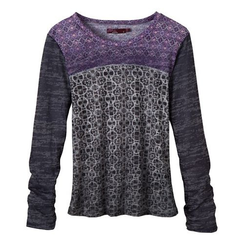 Womens Prana Lottie Long Sleeve Non-Technical Tops - Charcoal XS