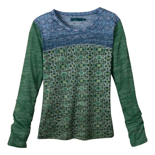 Womens Prana Lottie Long Sleeve Non-Technical Tops - Grass XS