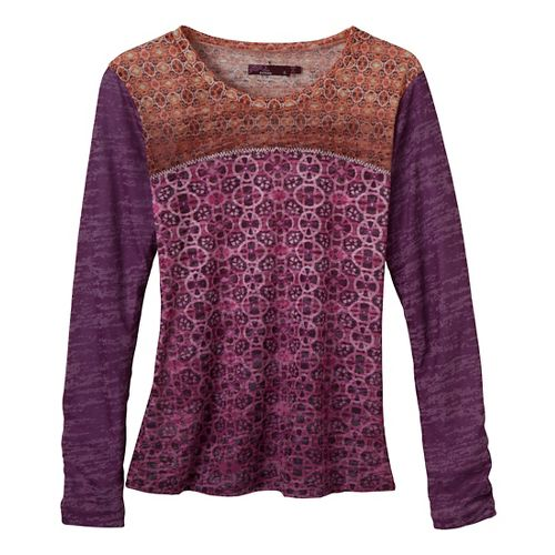 Womens Prana Lottie Long Sleeve Non-Technical Tops - Red Violet L