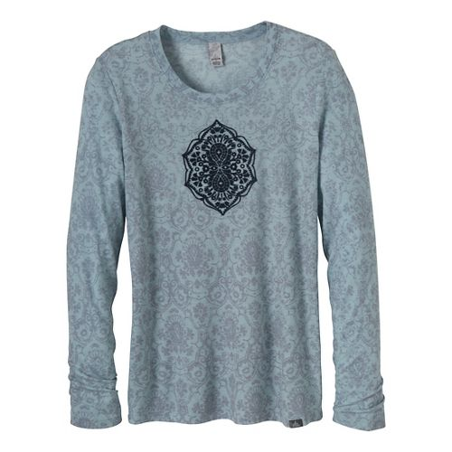Womens Prana Mallory Long Sleeve Non-Technical Tops - Dress Blue L