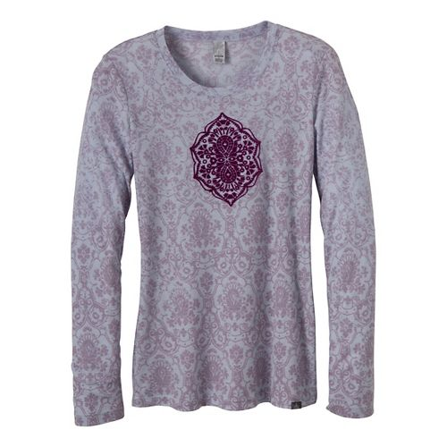 Womens Prana Mallory Long Sleeve Non-Technical Tops - Red Violet XL