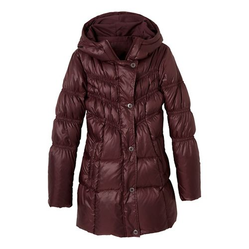 Womens Prana Milly Down Outerwear Jackets - Mahogany XL