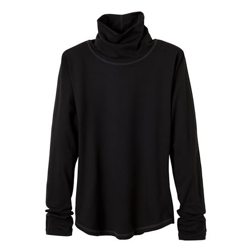 Womens Prana Olivia Turtleneck Long Sleeve No Zip Technical Tops - Black M