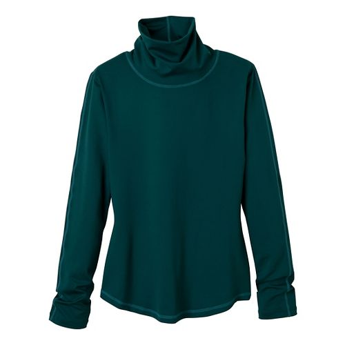 Womens Prana Olivia Turtleneck Long Sleeve No Zip Technical Tops - Deep Teal S