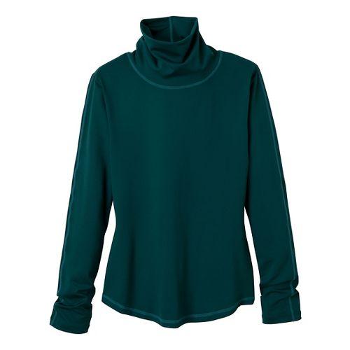 Womens Prana Olivia Turtleneck Long Sleeve No Zip Technical Tops - Deep Teal XL