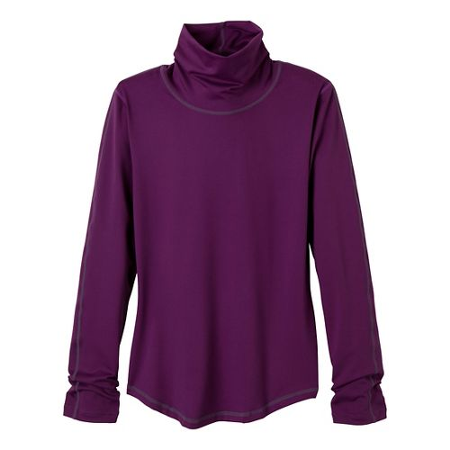 Womens Prana Olivia Turtleneck Long Sleeve No Zip Technical Tops - Red Violet S