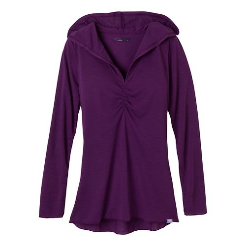 Womens Prana Perry Pullover Long Sleeve No Zip Technical Tops - Red Violet XL