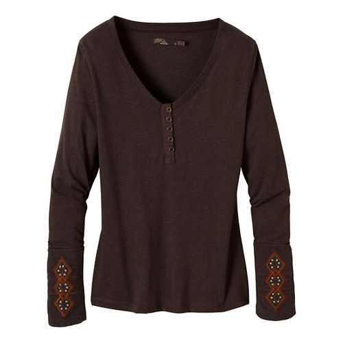 Womens Prana Rosie Long Sleeve Non-Technical Tops - Espresso XL