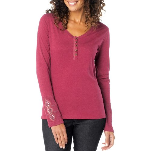 Womens Prana Rosie Long Sleeve Non-Technical Tops - Plum Red XL