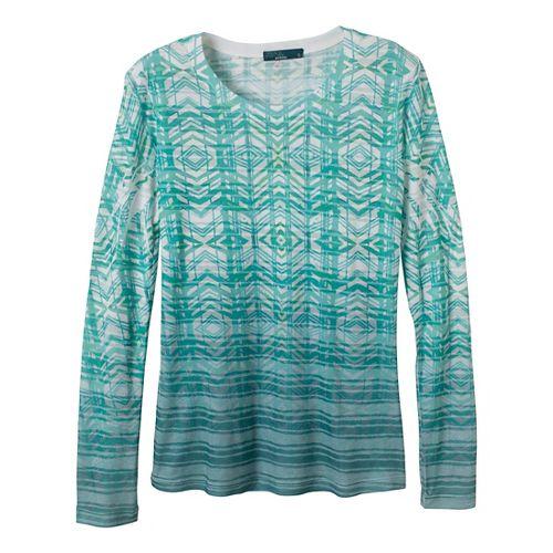 Womens Prana Sedona Long Sleeve Non-Technical Tops - Deep Turquoise M