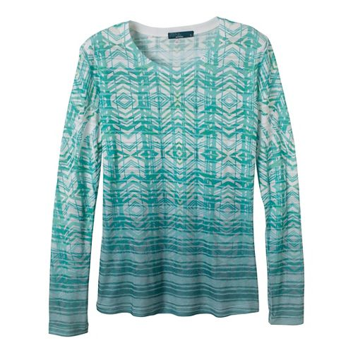 Womens Prana Sedona Long Sleeve Non-Technical Tops - Deep Turquoise XS