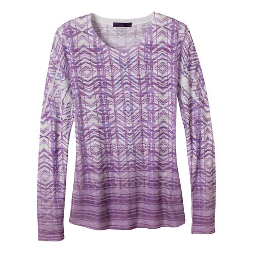 Womens Prana Sedona Long Sleeve Non-Technical Tops - Red Violet XS