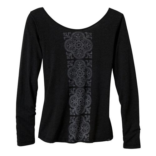 Womens Prana Serenity Long Sleeve Non-Technical Tops - Black XS