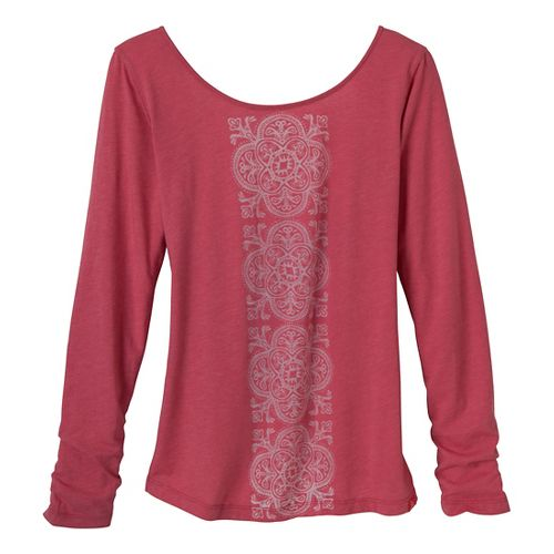 Womens Prana Serenity Long Sleeve Non-Technical Tops - Red Slate L