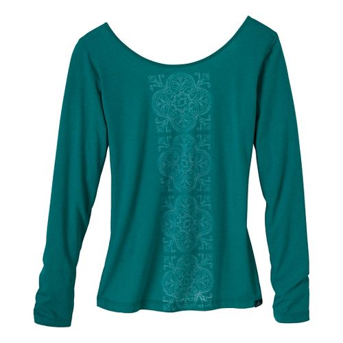 Womens Prana Serenity Long Sleeve Non-Technical Tops - Sea Glass XS
