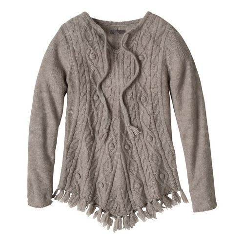 Womens Prana Shelby Poncho Long Sleeve Non-Technical Tops - Fog S