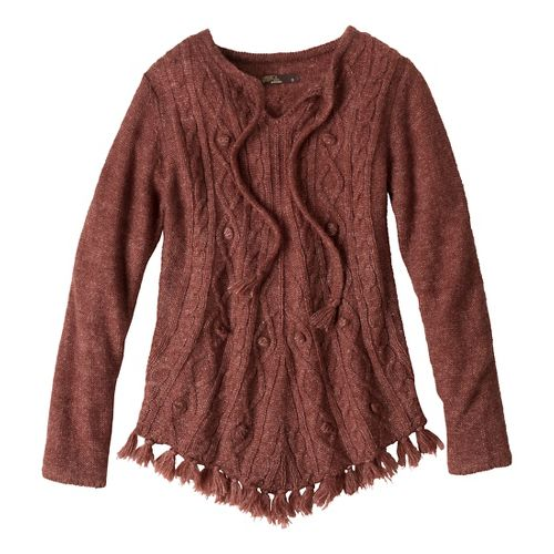 Womens Prana Shelby Poncho Long Sleeve Non-Technical Tops - Terracotta S
