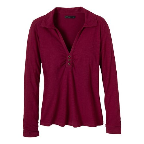 Womens Prana Sulia Long Sleeve Non-Technical Tops - Plum Red XL