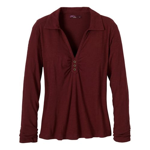 Womens Prana Sulia Long Sleeve Non-Technical Tops - Raisin XL