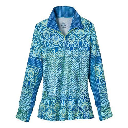 Womens Prana Tatiana Long Sleeve 1/2 Zip Technical Tops - Blue Twilight L