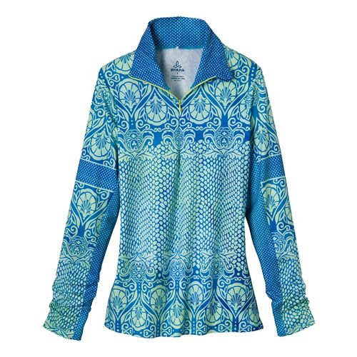 Womens Prana Tatiana Long Sleeve 1/2 Zip Technical Tops - Blue Twilight XL