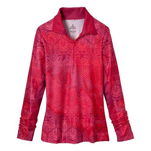 Womens Prana Tatiana Long Sleeve 1/2 Zip Technical Tops - Red Violet M