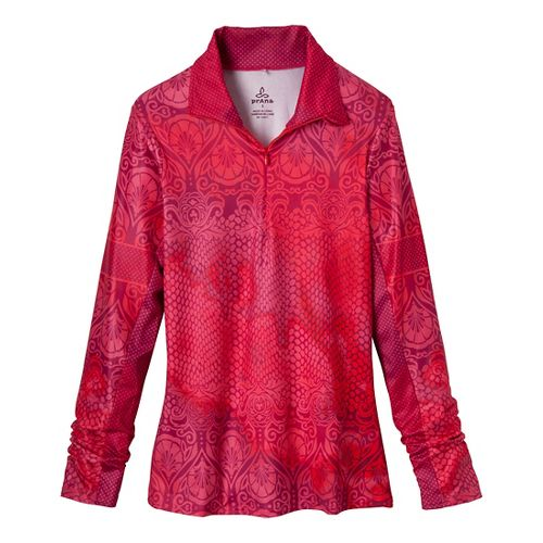 Womens Prana Tatiana Long Sleeve 1/2 Zip Technical Tops - Red Violet XL